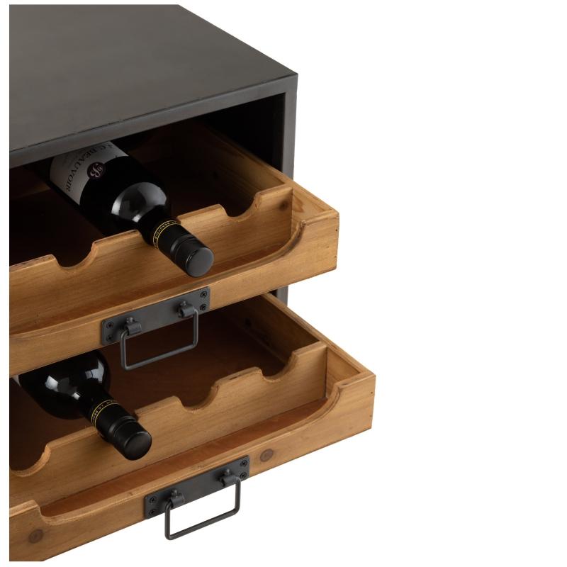 rangement bouteilles de vin 2 tiroirs decorelie