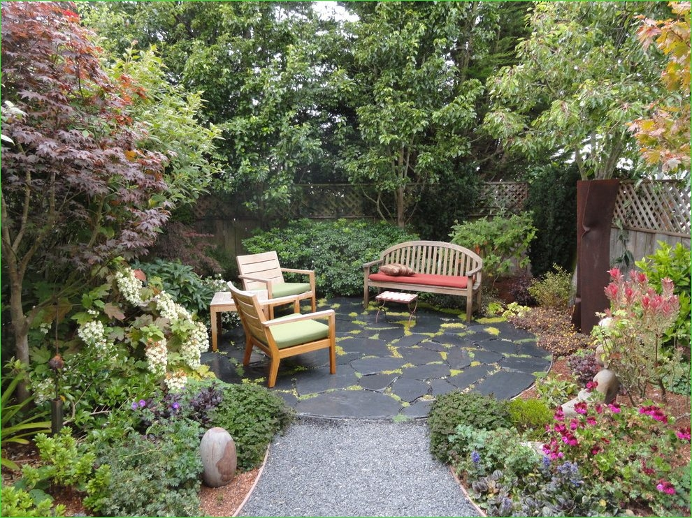 Creative Tiny Backyard Sitting areas 33 Corner Patio Landscape Contemporary with Wood Fence Outdoor Wall Signs 2