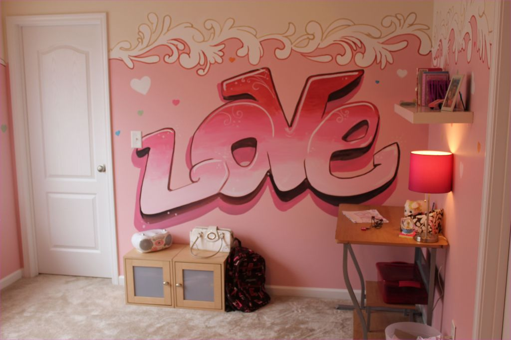 Cute Mix Color Bedrooms for Teenage Girls 66 Graffiti Murals for Bedrooms Girls 8