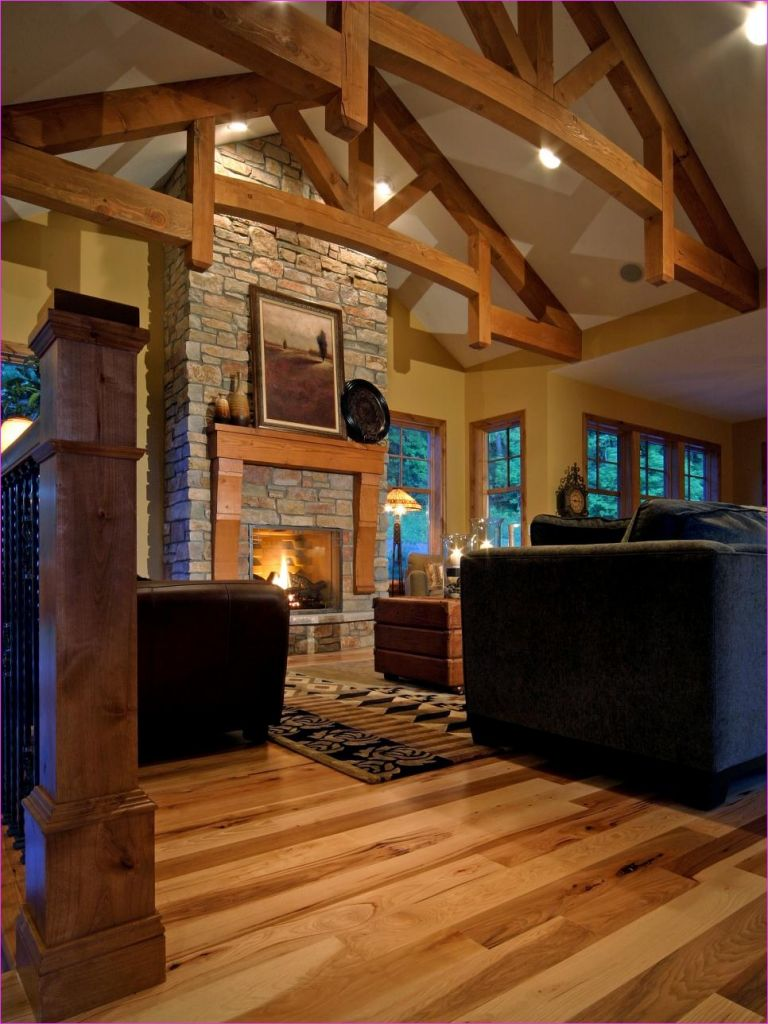 Living Room with Hickory Flooring 33 8 Flooring Trends to Try 9