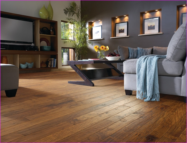 Living Room with Hickory Flooring 15 Hickory Wood Floor Living Room Contemporary Living Room Jacksonville by Fantastic Floors 1