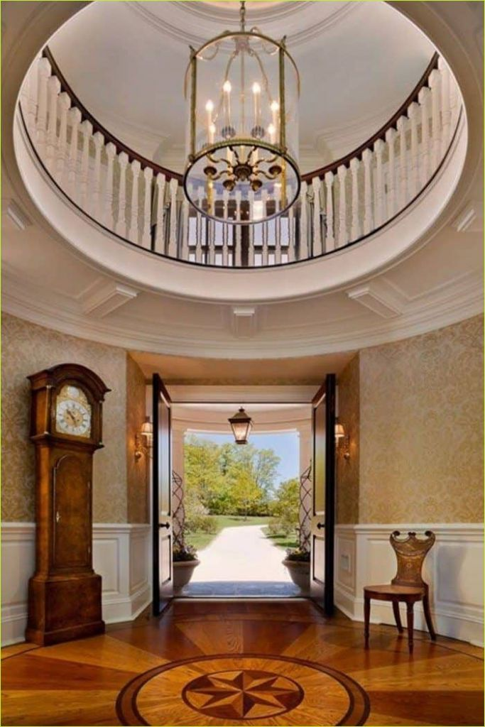 Round Foyer Entrance 37 Round Foyer with Wallpaper and Furniture Decorating Ideas for A Round Foyer 7