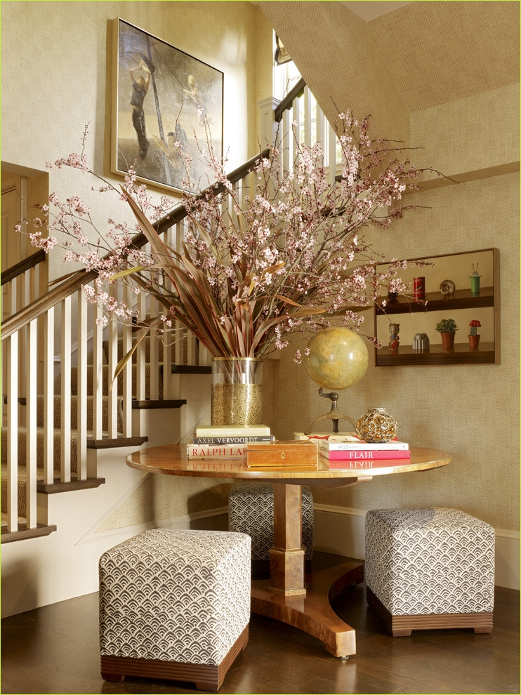 Round Foyer Entrance 66 Round Entryway Table Entry Contemporary with Entry Table Floral Arrangement 1