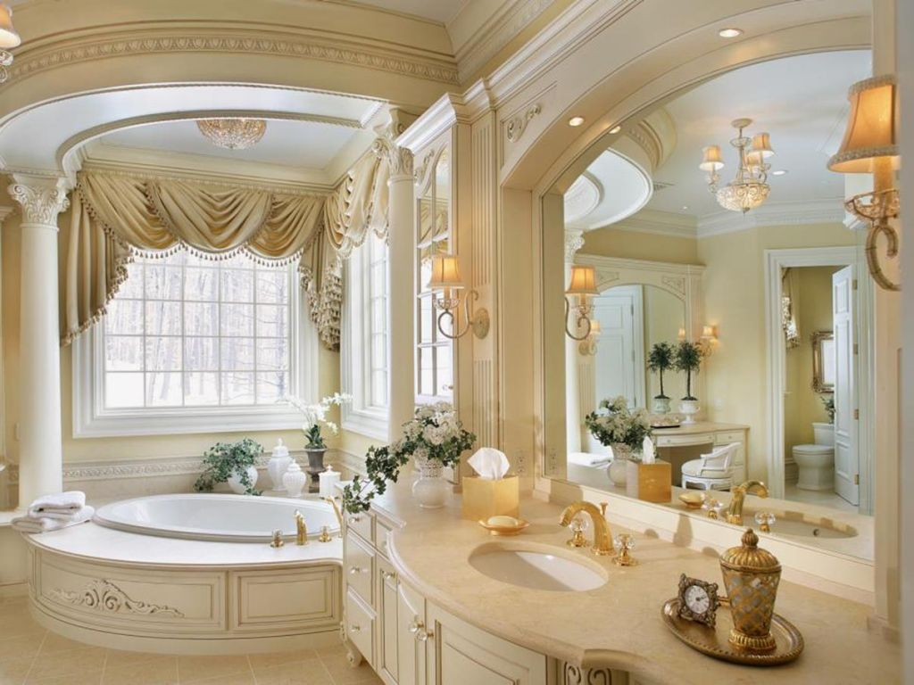 Beautiful Gold and White Bathroom 13
