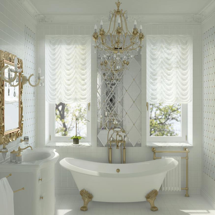 Beautiful Gold and White Bathroom 18