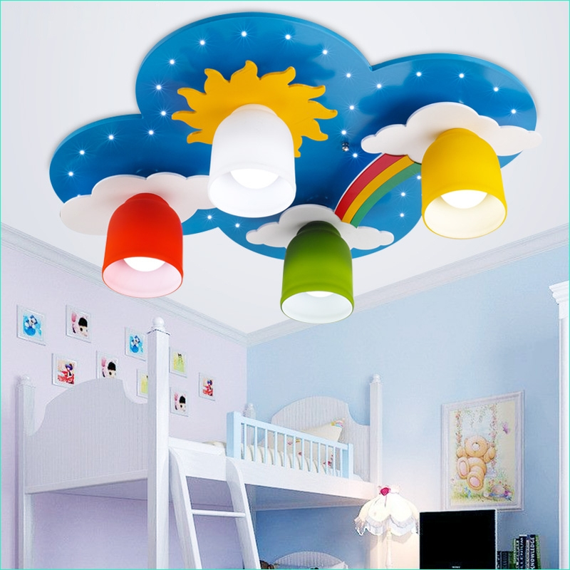 Rainbow theme toddler Room 17 Surface Mounted Children Ceiling Lamps Kids Bedroom Cartoon Rainbow Decoration Chandelier Light 6