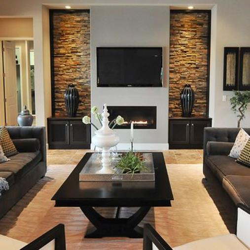 Living Room Smooth Stone Interior Walls 10