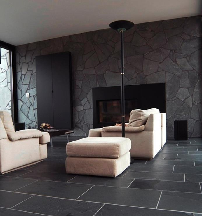 Living Room Smooth Stone Interior Walls 13
