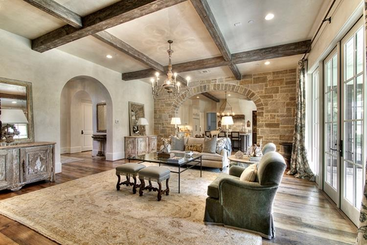 Living Room Smooth Stone Interior Walls 14