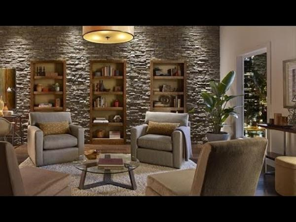 Living Room Smooth Stone Interior Walls 24