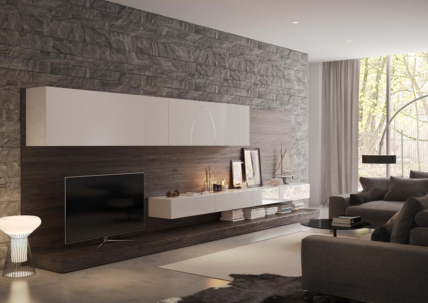 Living Room Smooth Stone Interior Walls 28
