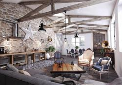 Living Room Smooth Stone Interior Walls 32