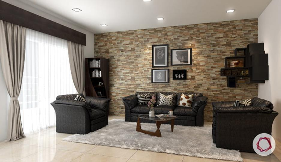 Living Room Smooth Stone Interior Walls 36