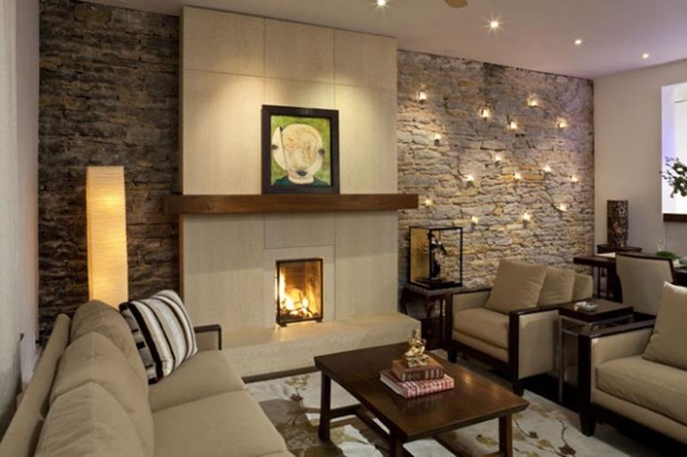 Living Room Smooth Stone Interior Walls 4