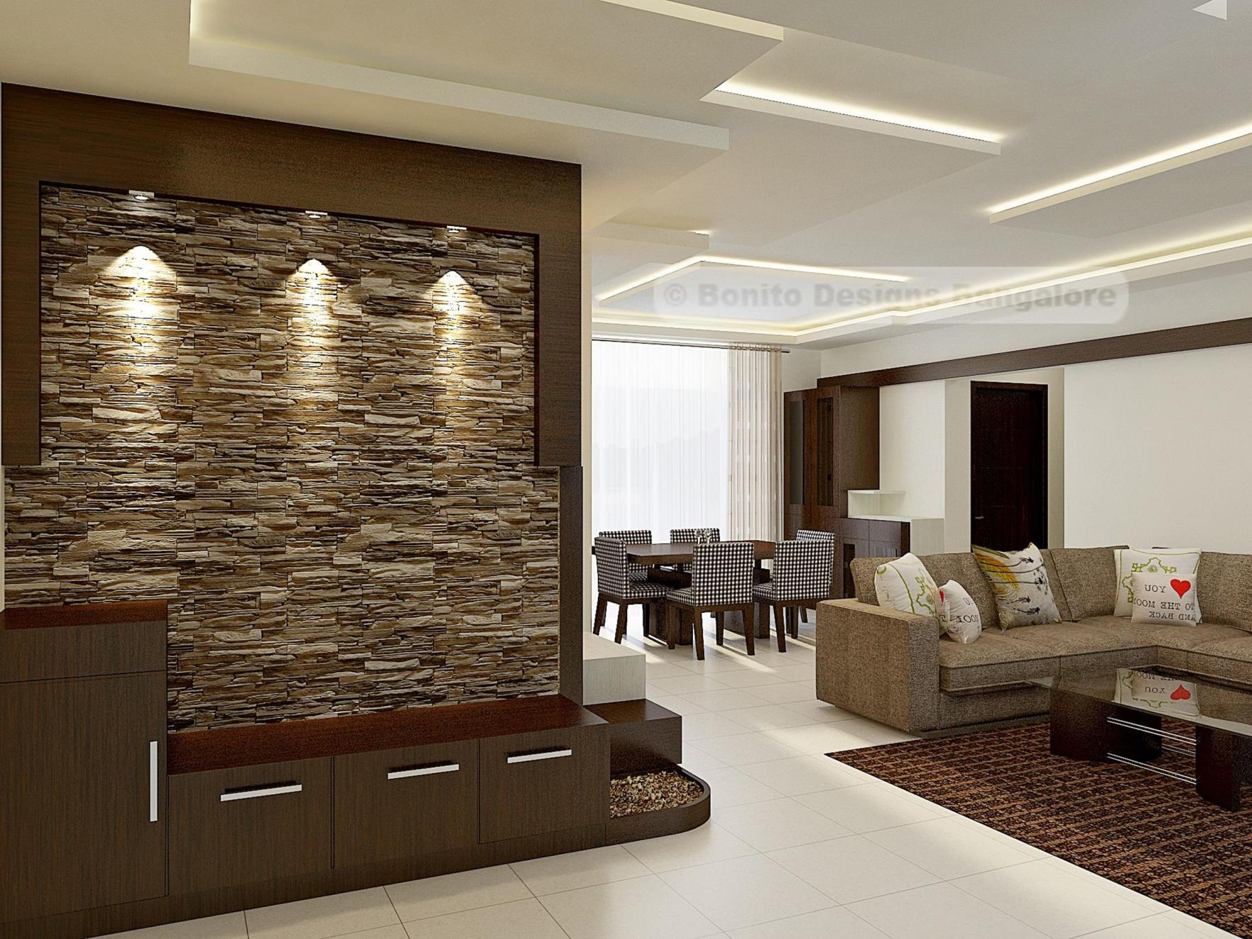 Living Room Smooth Stone Interior Walls 7