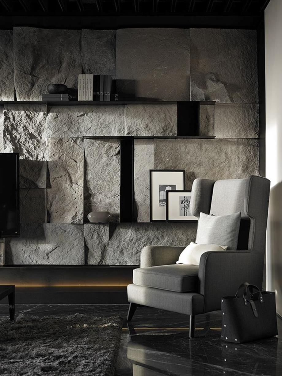 Living Room Smooth Stone Interior Walls 8