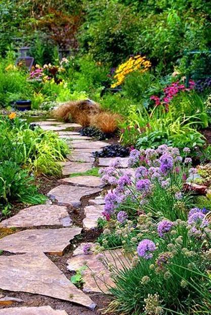 Beautiful Stone Path around Flowers 15