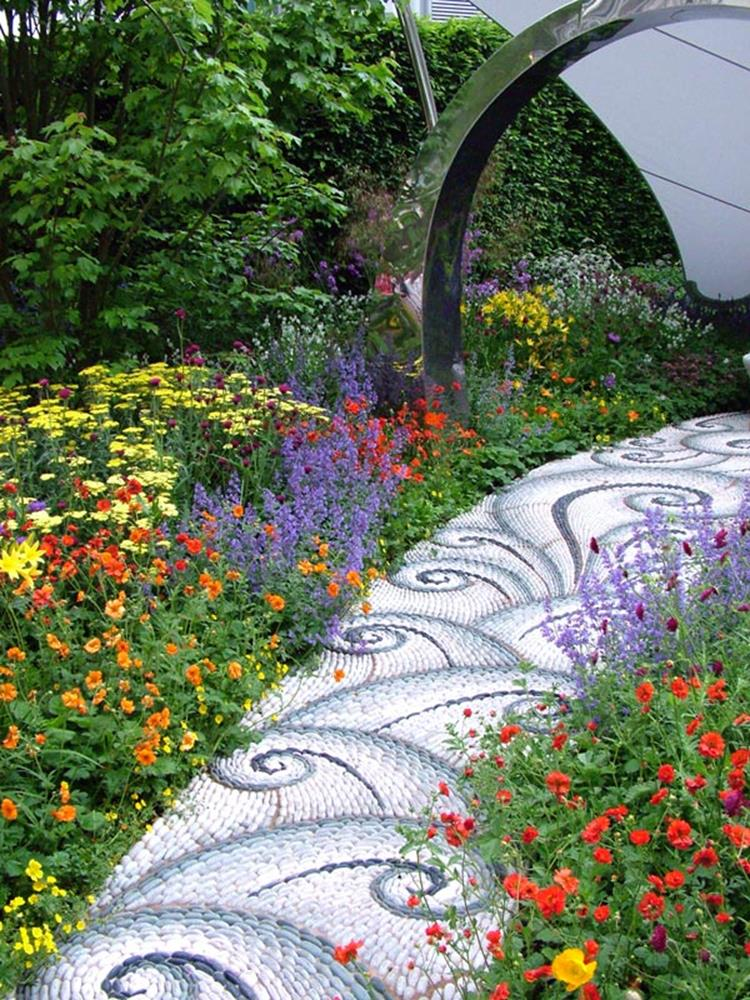 Beautiful Stone Path around Flowers 39