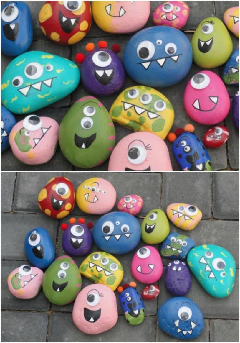 Simple Painted Rock Ideas For Garden 4