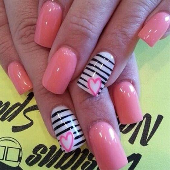 Gorgeous Valentines Day Acrylic Nail Designs 16