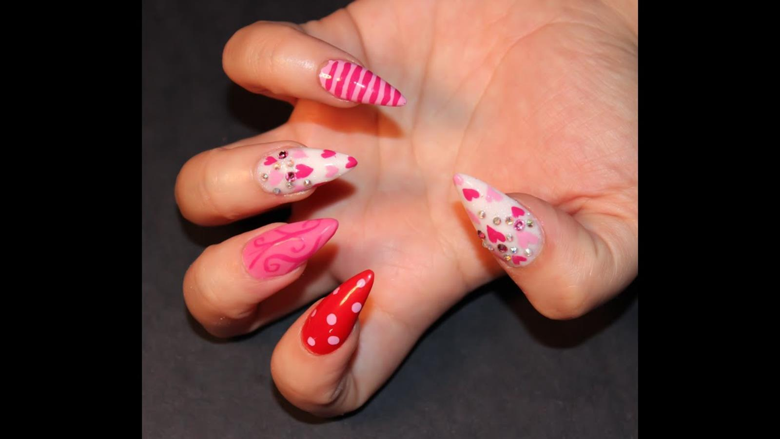 Gorgeous Valentines Day Acrylic Nail Designs 35