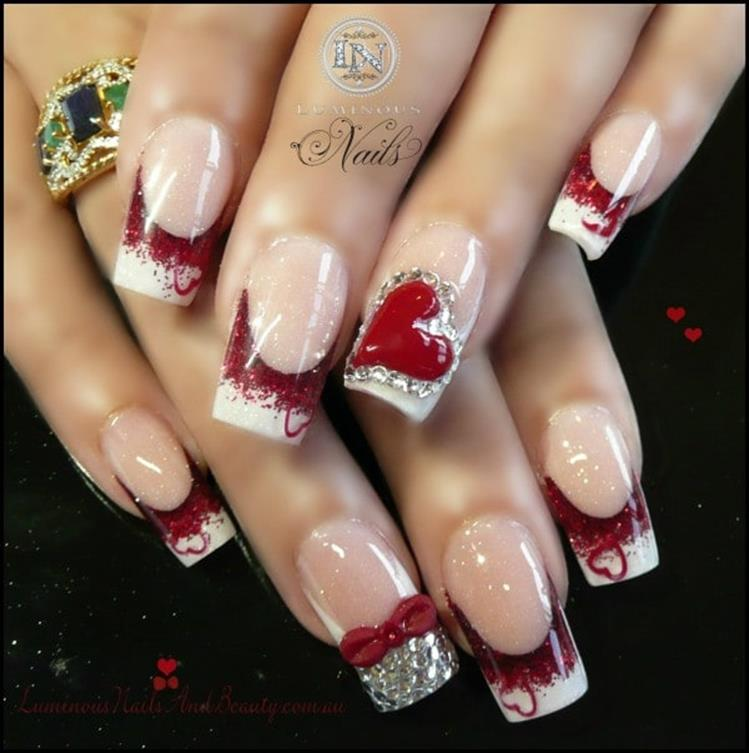Gorgeous Valentines Day Acrylic Nail Designs 4