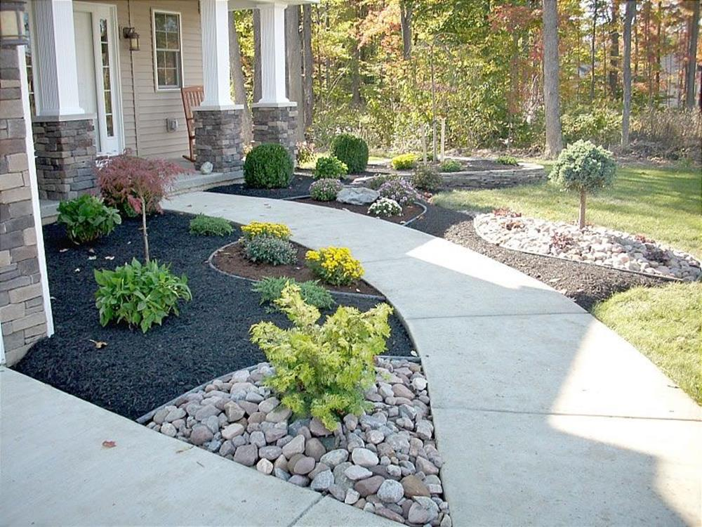 Front Yard Landscaping Ideas with White Rocks 2