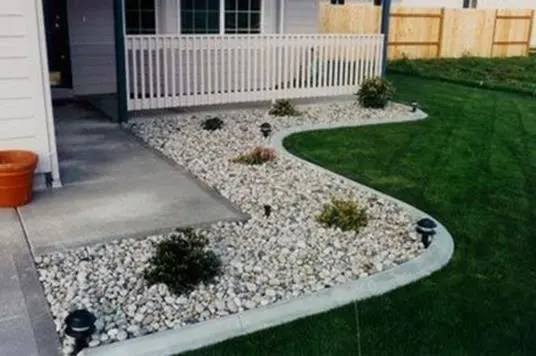 Excited Front Yard Landscaping Ideas With White Rocks Decor Renewal