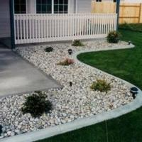 Excited Front Yard Landscaping Ideas with White Rocks