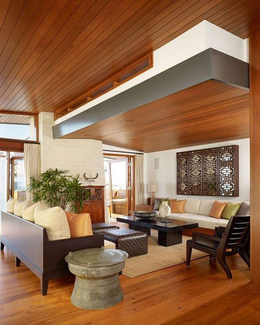 Lovely Family Room Wood Ceiling Design 25