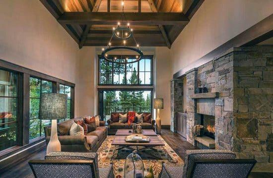 Lovely Family Room Wood Ceiling Design 28