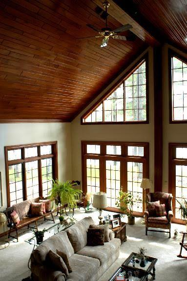 Lovely Family Room Wood Ceiling Design 4