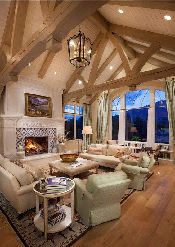 Lovely Family Room Wood Ceiling Design 6