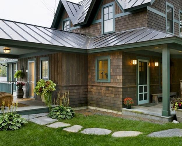 Stunning Exterior House With Brown Roof Colors 2