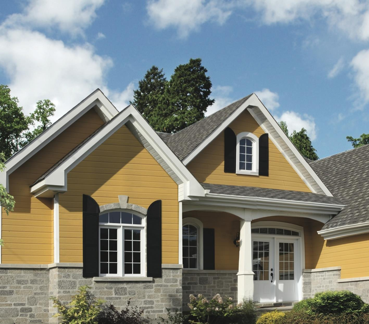 Stunning Exterior House With Brown Roof Colors 20