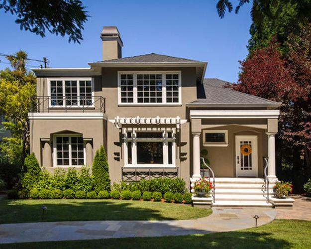 Stunning Exterior House With Brown Roof Colors 26
