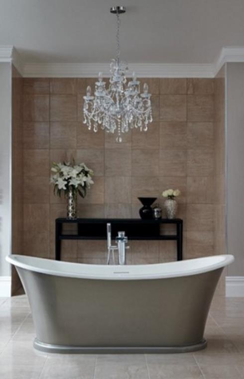 Beautiful Bathroom with Crystal Chandelier 2