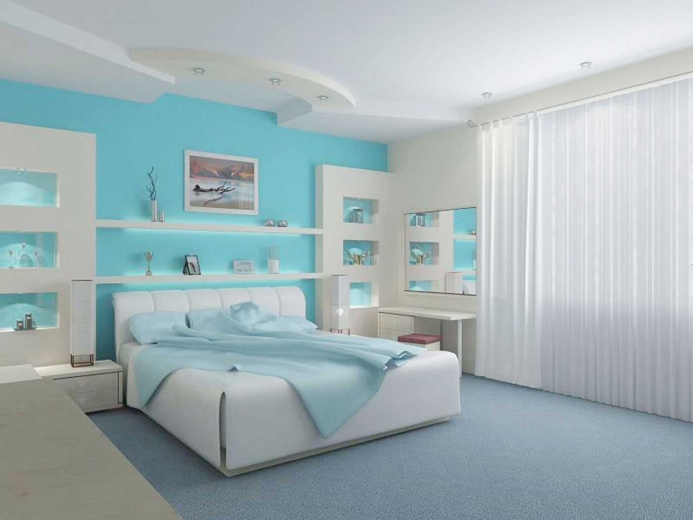 Magnificent Teal Blue And White Interior Paint Ideas For Master Bedroom With Splendid Sapphire Color Flooring Ideas Also Pretty White Window Curtain Rod Double Design Ideas