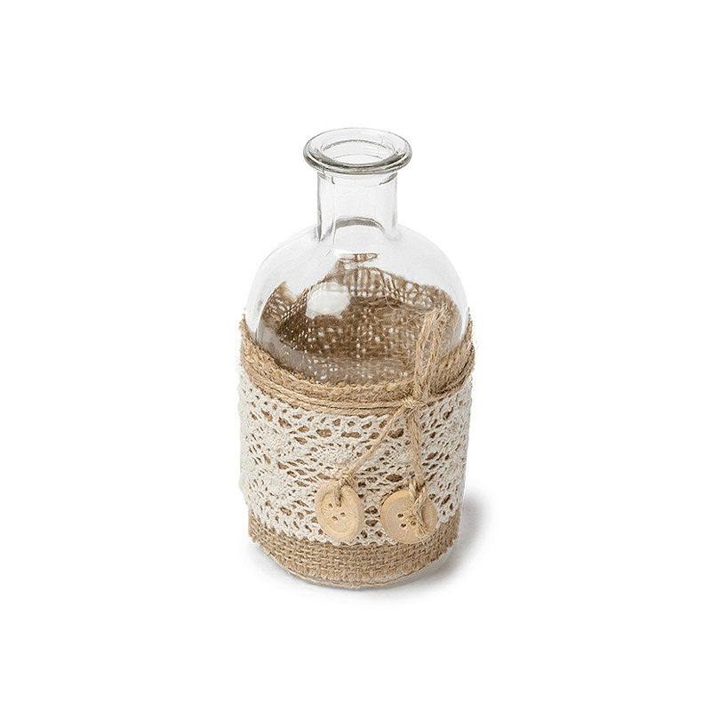 Dcoration Mariage Vintage Vase Jute Et Dentelle