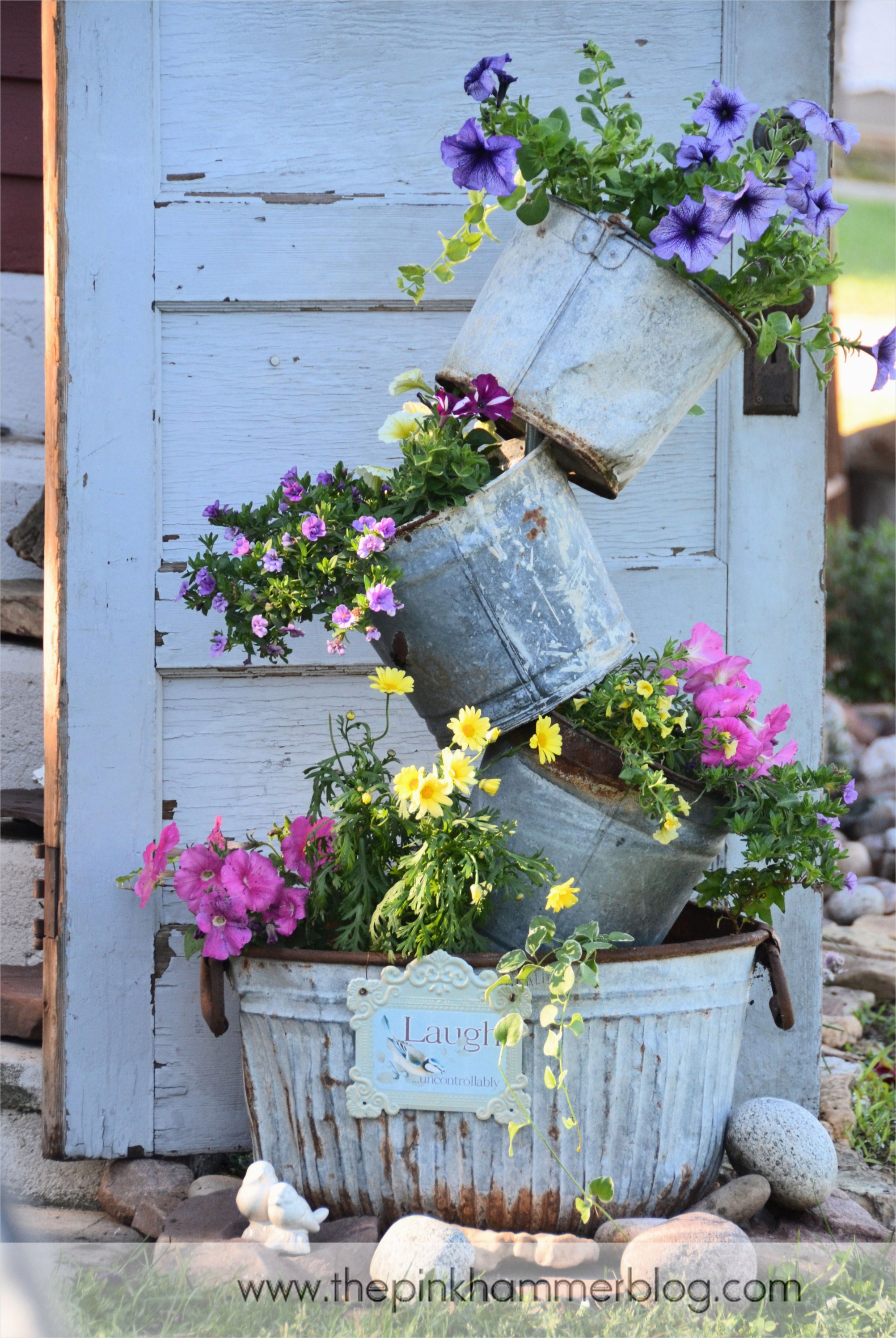 44 Amazing Rustic Garden Ideas 36 Primitive Tipsy Pot Planters Diy Rustic Garden Decor 6