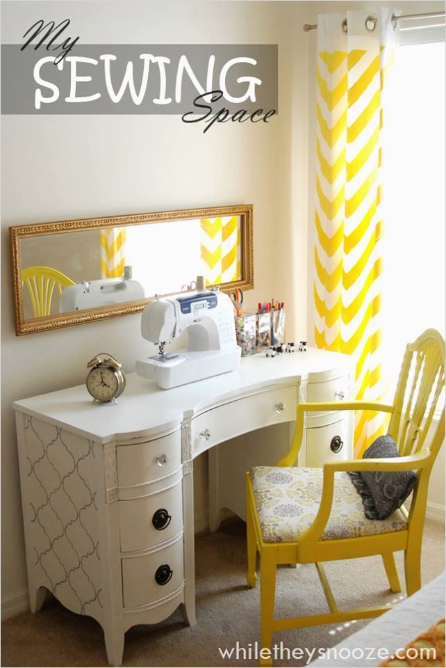 Sewing Room Ideas for Small Spaces 88 while they Snooze Thrift Store Desk Trash to Treasure 4