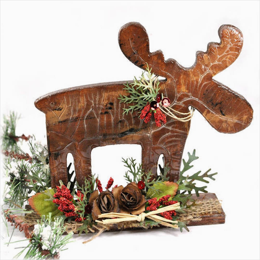 45 Diy Rustic Christmas Decorations 11 Diy Holiday Home Decor Rustic Wooden Moose 9
