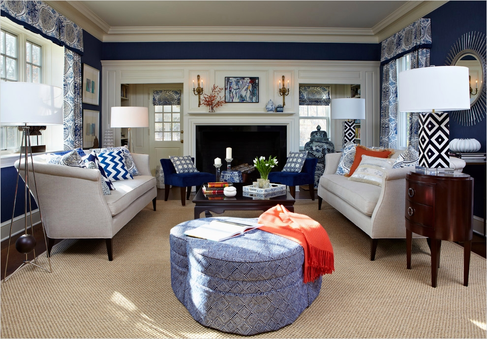 41 Amazing Navy Blue and White Living Room 23 Navy Blue Living Room Traditional with White Navy Blue and White Living Room Designs 6