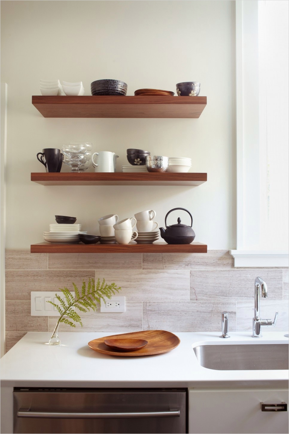 42 Stylish Ideas Minimalist Kitchen Shelves 28 Sublime Oak Wood Wall Floating Shelving Units Cabinet with White Ceramic Countertop and 9