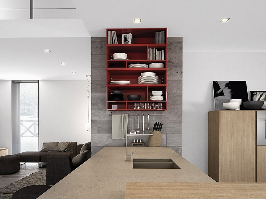 42 Stylish Ideas Minimalist Kitchen Shelves 76 Dynamic Minimalist Kitchen Sizzles with Flaming Red Accents 6