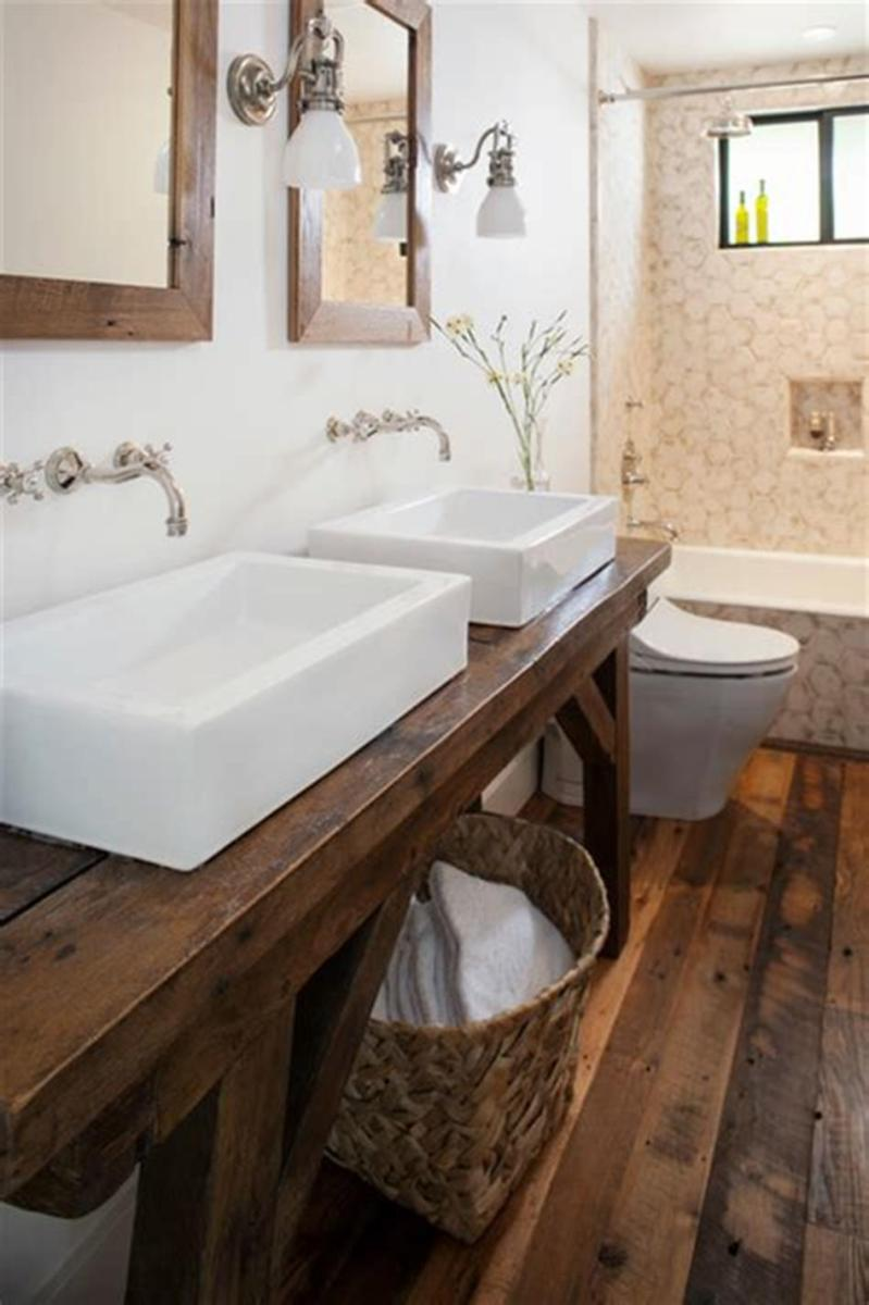 35 Cheap Country Rustic Farmhouse Bathroom Vanities Ideas 36