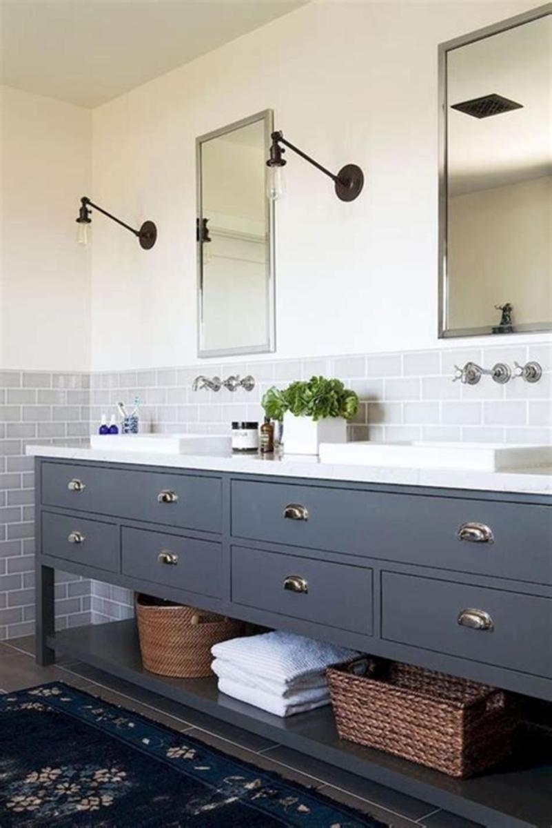 35 Cheap Country Rustic Farmhouse Bathroom Vanities Ideas 4