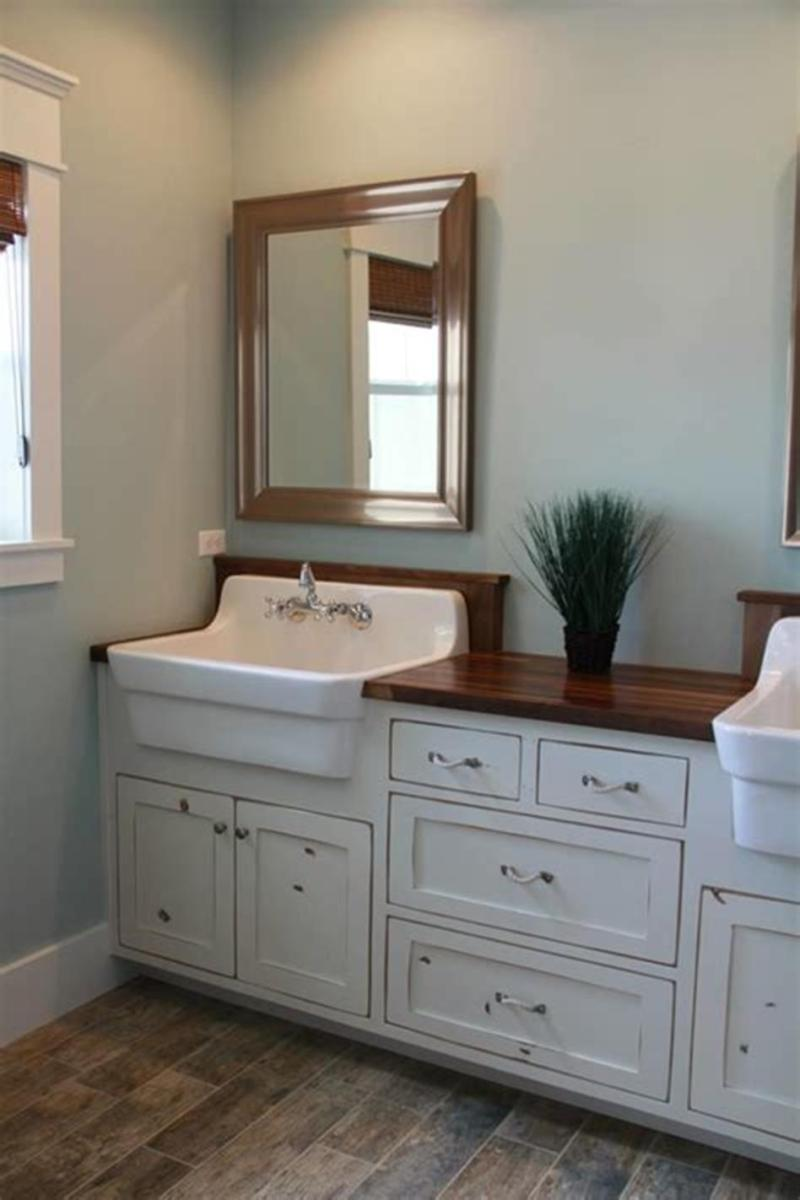 35 Cheap Country Rustic Farmhouse Bathroom Vanities Ideas 56