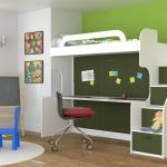 Bunk Beds With A Table 46 Photos A Transforming Bed With A Wardrobe And A Sliding Table At The Bottom