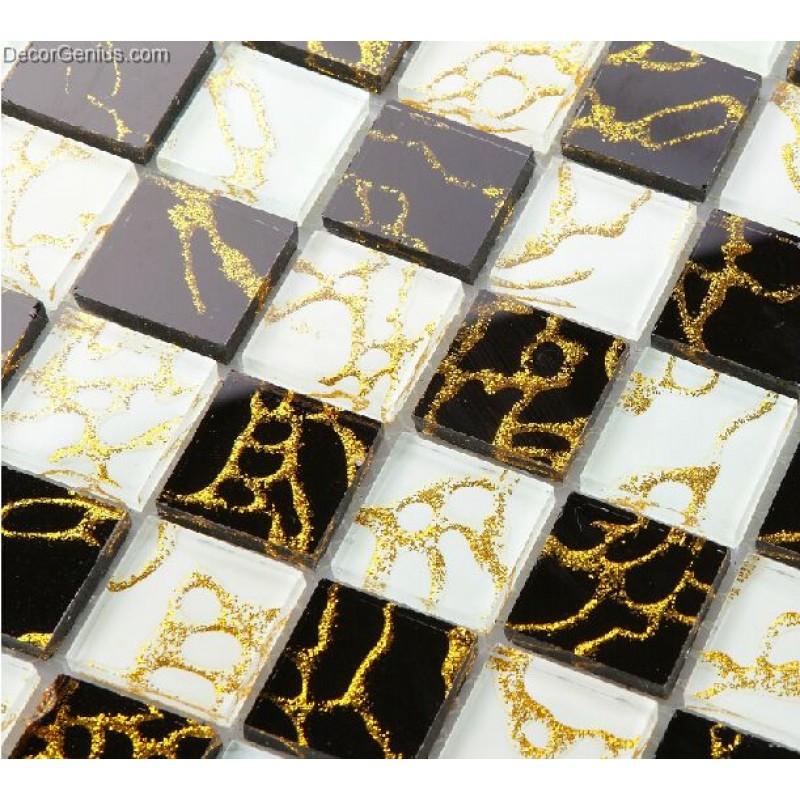 11 sheets gold nailed backsplash tile black and white home improvement glass mosaic tiles